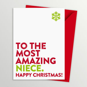 Most Amazing Niece Christmas Card - cards