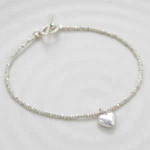 Sweet Petite Silver Puffy Heart Charm Stacking Bracelet