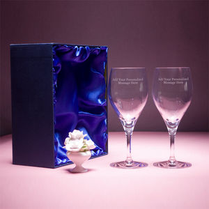 Personalised Wine Glasses In Satin Lined Gift Box 41cl