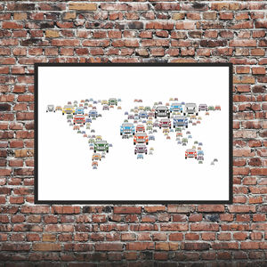 Mini Cars World Map Print