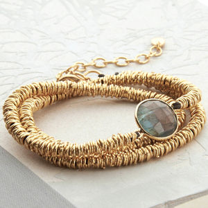 Gold And Labradorite Wrap Bracelet