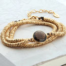 Gold And Smokey Quartz Wrap Bracelet