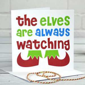 Elves Are Watching Christmas Card - cards & wrap