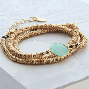 Gold And Aqua Chalcedonay Wrap Bracelet - women's jewellery