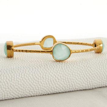 Gold And Aqua Chalcedonay Bangle