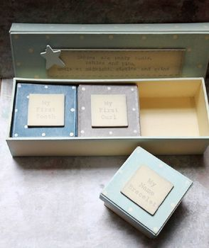 Set Of Three Blue 'Baby's First' Box