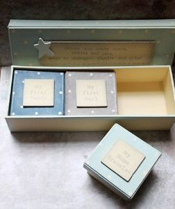 Set Of Three Blue 'Baby's First' Box - keepsake boxes
