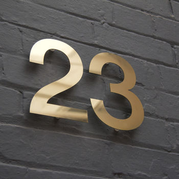 Modern Brass House Numbers