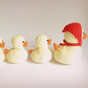 Hand Crochet Rattles Mummy Duck And Ducklings - woodland trend