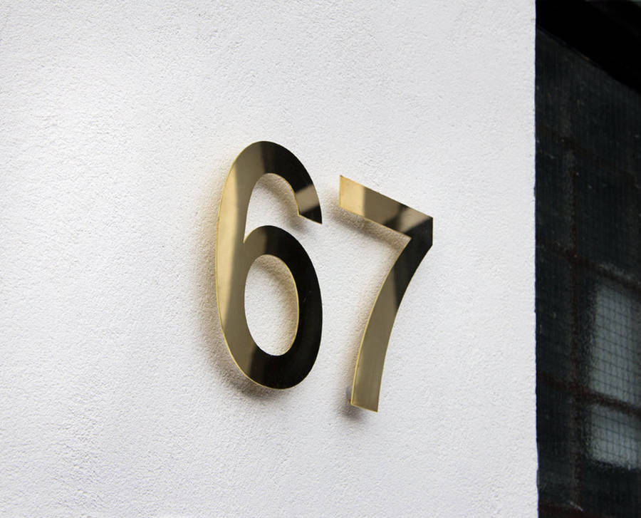 Brass House Numbers Modern
