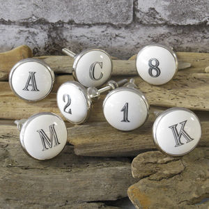 Ceramic Alphabet Letters And Numbers Knob - door knobs & handles