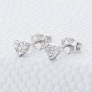 Sterling Silver And Crystal Heart Stud Earrings - shop by price