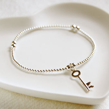 Delicate Silver Bead Bracelet With Key Charm