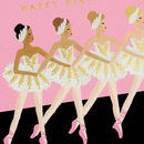 Happy Birthday Ballet Girl Gold Foil Greeting Card
