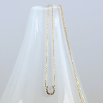 Diamante Horse Shoe Charm Necklace
