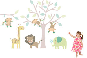 Monkey Friends Tree Wall Stickers - wall stickers by room