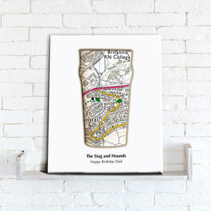 Personalised Beer Map Canvas Print - canvas prints & art