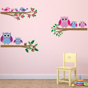Owls And Birds Branch Wall Stickers - wall stickers