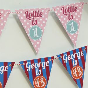Personalised Age Bunting - baby & child