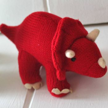 Mini Red Triceratops Dinosaur Rattle