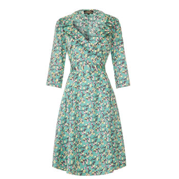 1950s Style Full Skirted Dress In Duck Egg Rose Print