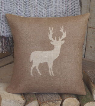 ' Deer ' Hessian Cushion