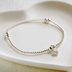 Delicate Silver Bead Bracelet With Tiny Frosted Heart - wedding jewellery