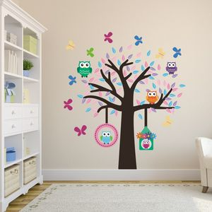 Owl Tree Fabric Wall Sticker Set - dining room