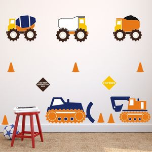 Construction Trucks Wall Stickers - children's room