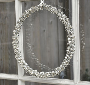 Silver Jingle Bell Wreath - room decorations