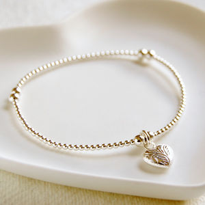 Delicate Silver Bead Bracelet With Patterned Heart