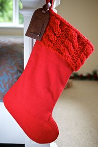 Personalised Cable Knit Red Santa Stocking - stockings & sacks