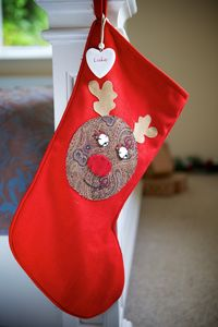 Personalised Red Vintage Style Rudolph Stocking