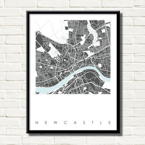 Newcastle Map Art Limited Edition Prints