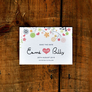 Whimsical Flowers Save The Date Card - save the date cards