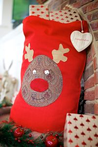Personalised Red Vintage Style Rudolph Christmas Sack - stockings & sacks