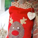Personalised Red Vintage Style Rudolph Christmas Sack