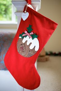 Personalised Red Vintage Style Pudding Stocking - stockings & sacks