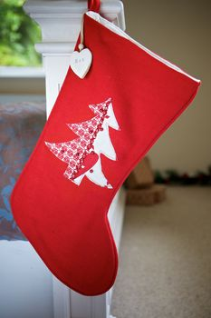 Personalised Red And White Christmas Tree Stocking