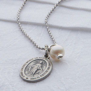 Miraculous Medal Sterling Silver Necklace