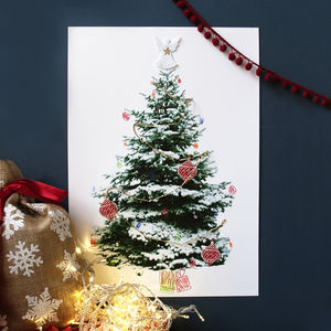 Decorate It Yourself Christmas Tree Poster - festive wall art