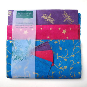 Fair Trade Lokta Paper Three Sheet Gift Wrap Packs - wrapping paper