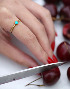 Raw Stone Stacking Ring: Turquoise - rings