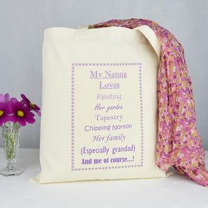 Personalised 'Nanny' Loves Shopping Bag - bags & purses