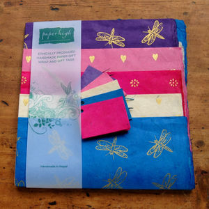 Fair Trade Lokta Paper Five Sheet Gift Wrap Packs