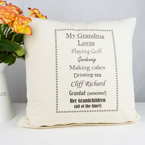 Personalised 'Grandma Loves' Cushion - gifts for grandparents