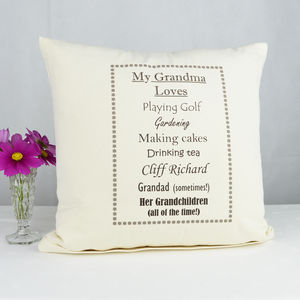 Personalised 'Grandma Loves' Cushion - cushions