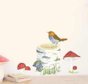 Birch Trunk, Bird And Toadstools Wall Stickers