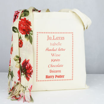 Personalised 'She Loves' Shopping Tote Bag