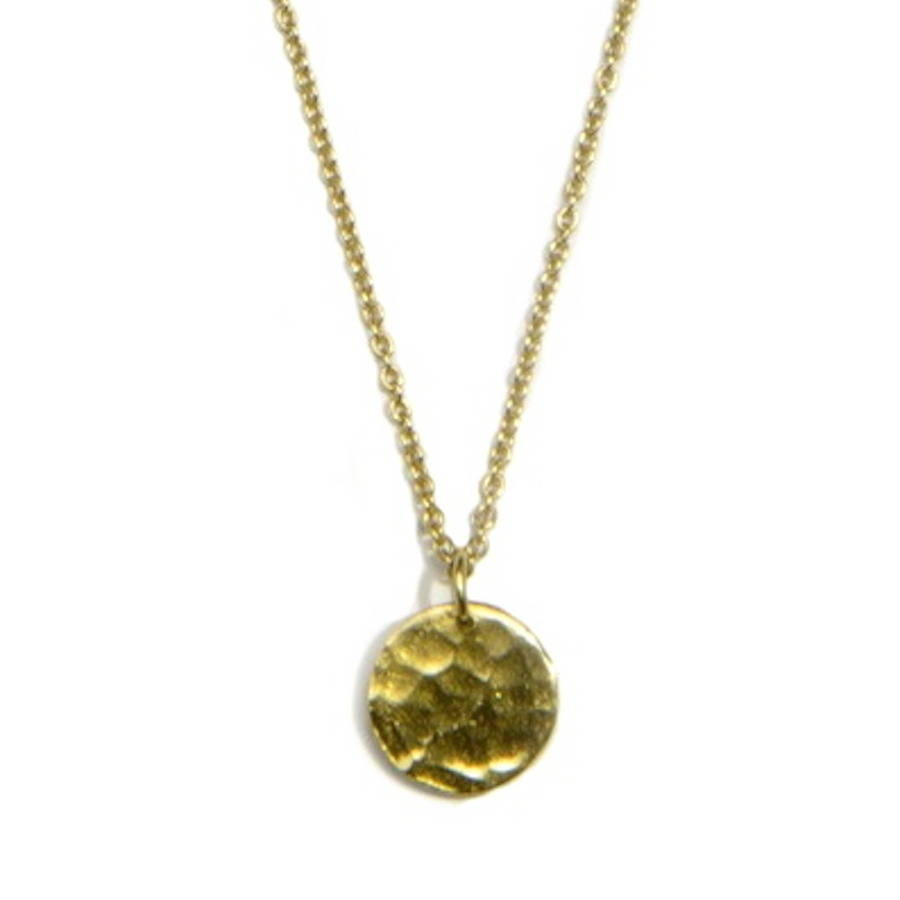 Hammered disc pendant necklace by love holly notonthehighstreet hammered disc pendant 23ct gold plated aloadofball